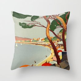 Vintage poster - Cote D'Azur, France Throw Pillow