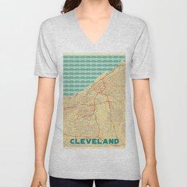Cleveland Map Retro Unisex V-Neck