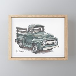 Pen, ink and watercolor painting of a green 50s pick up truck Framed Mini Art Print
