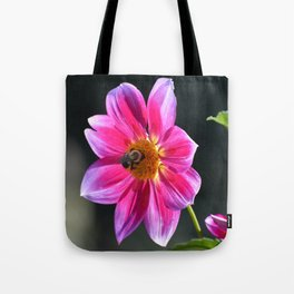 Bee on a Pink Dahlia Tote Bag