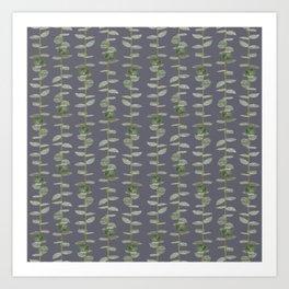 Eucalyptus Patterns Dusty Purple Background Realistic Botanic Patterns Organic & Striped Pattern Art Print