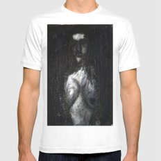 HOT VAMPIRE WITH IMPLANTS White Mens Fitted Tee SMALL