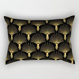 Vintage Hollywood Elegant Gold and Black Art Deco Rectangular Pillow