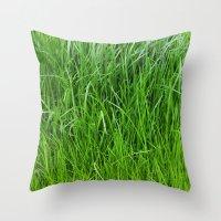 grass Throw Pillows featuring grass by Кaterina Кalinich