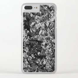 Black And White Pear Tree Blooming Clear iPhone Case
