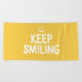 Keep Smiling Quote - Yellow Beach Towel