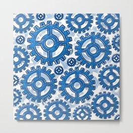 Blue gear wheels Metal Print
