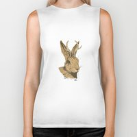 jackalope Biker Tanks featuring The Jackalope by Black Bear / White Bear