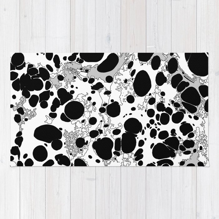 Black White Gray Monochrome Bubble Dots Spilled Ink Mess Effect Rug