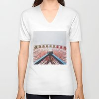 ferris wheel V-neck T-shirts featuring Ferris Wheel by Devin Fernandez