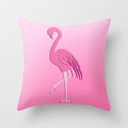 Coral Pink Flamingo Pattern Throw Pillow