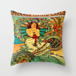 Vintage Monaco Monte-Carlo Poster Throw Pillow