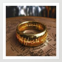 lord of the ring Art Prints featuring RING by aztosaha
