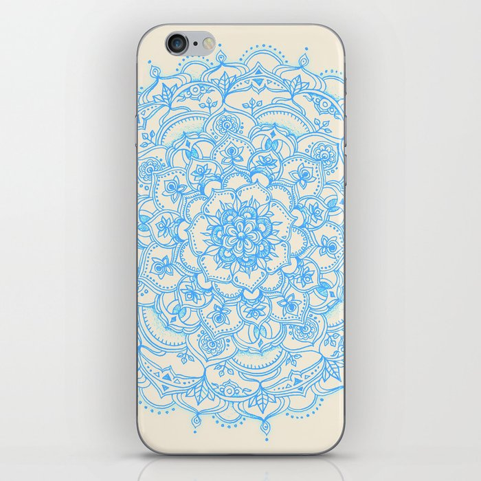 Pale Blue Pencil Pattern - hand drawn lace mandala iPhone Skin