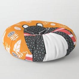 Bear in floral rain Floor Pillow