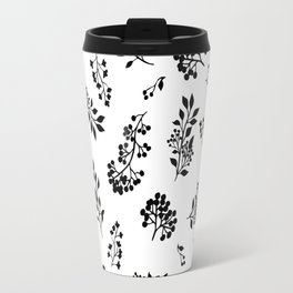 Black white abstract berries floral illustration Travel Mug
