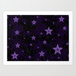 Purple Neon Stars Art Print