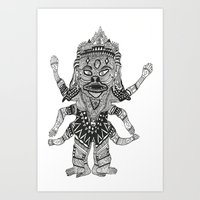 yeti Art Prints featuring Yeti by Guice Mann