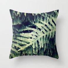 Ferns Glitches Throw Pillow