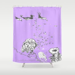 Two Tailed Duck and Jellyfish Purple Grape Shower Curtain