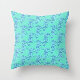 Swirls with Flowers Throw Pillow