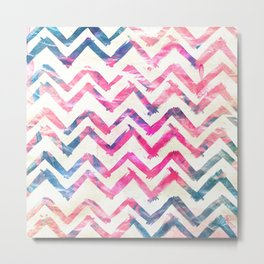 Abstract Pink Blue Chevron Pattern Art Watercolor Metal Print