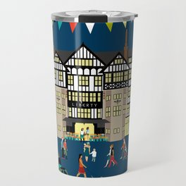 Art Print of Liberty of London Store - Night time Travel Mug