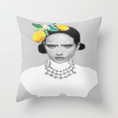Dame with the lemons  Throw Pillow