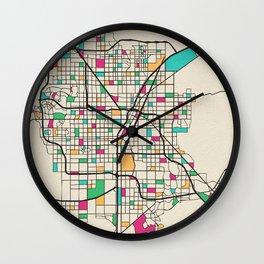 Colorful City Maps: Las Vegas, Nevada Wall Clock