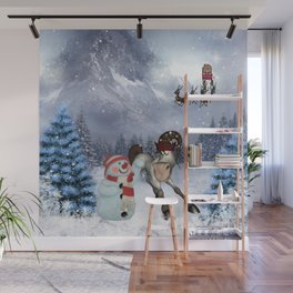 Christmas, funny cartoon horse with snowman Wall Mural