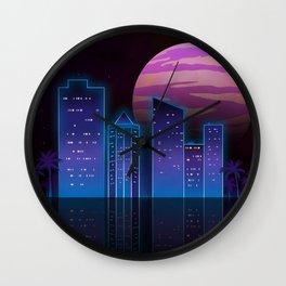 Outrun city Wall Clock