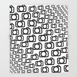 Photography Obsession, Camera Pattern Black and White Vector Throw Blanket