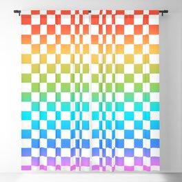 Rainbow Checkerboard Blackout Curtain
