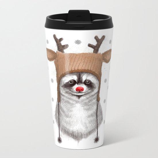 raccoon in deer hat Metal Travel Mug