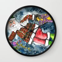 santa Wall Clocks featuring Santa by Shelley Ylst Art