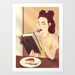 Coffee and Cake Girl Art Print