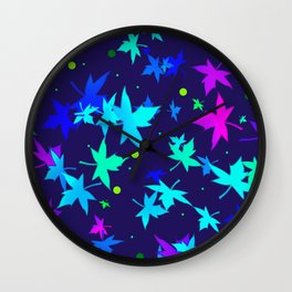 Forever Autumn Leaves blue 2 Wall Clock