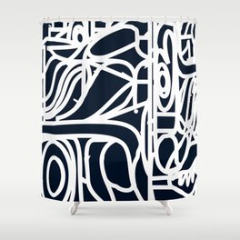 Stained Glass Pattern Black and White Shower Curtain