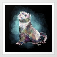ferret Art Prints featuring Ferret Time ! by margaw