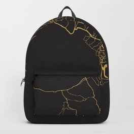 BALI INDONESIA GOLD ON BLACK CITY MAP Backpack