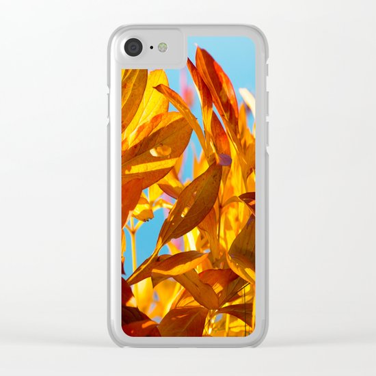 Autumn colors leaves against the blue sky Clear iPhone Case