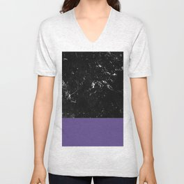 Ultra Violet Meets Black Marble #1 #decor #art #society6 Unisex V-Neck