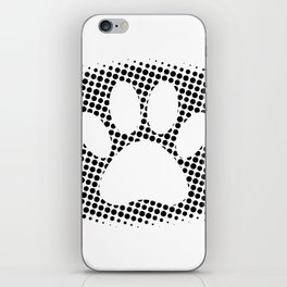 Dog Paw Print With Halftone Background iPhone Skin