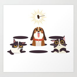 Cute Cats Dogs on Sunny Day Art Print