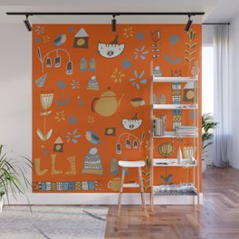 hygge cat and bird orange Wall Mural