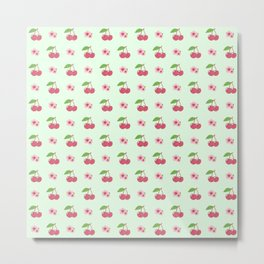 CHERRIES AND BLOSSOMS Metal Print