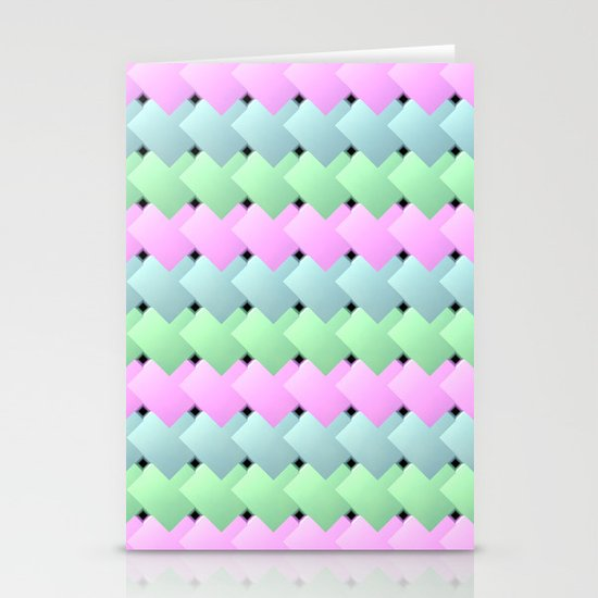 Overlapping Diagonal Square Pattern Stationery Cards