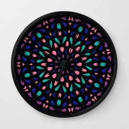Splishes and splashes of green, blue and mauve Wall Clock