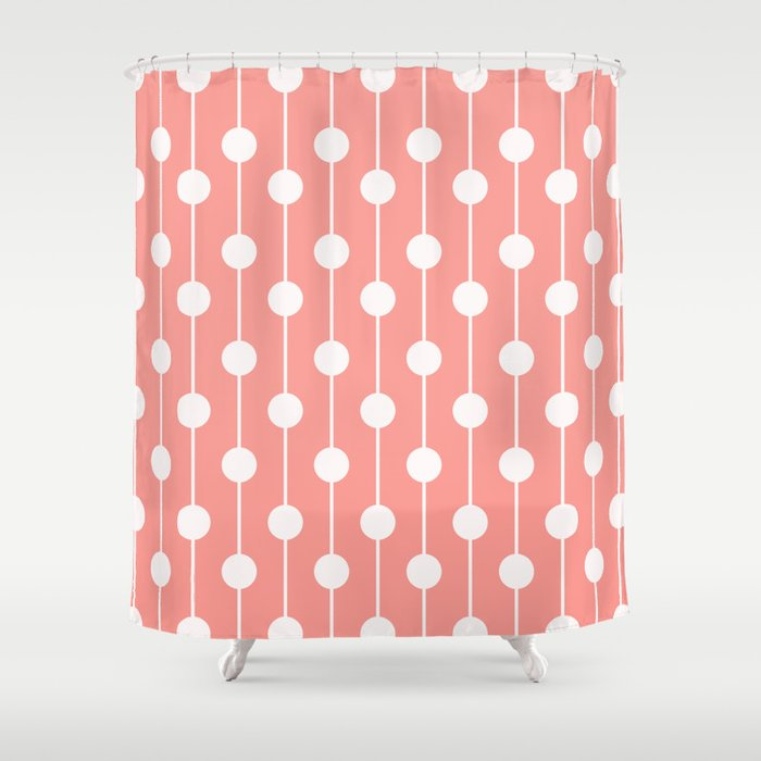 Pink Lined Polka Dot Shower Curtain by thepetitepear | Society6