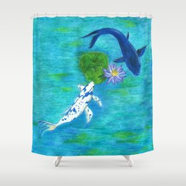 Blue Koi Shower Curtain